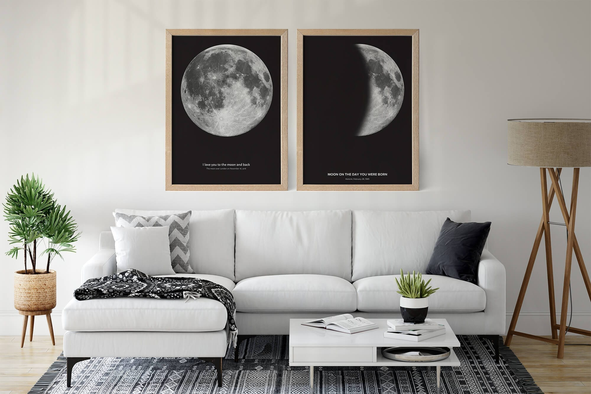 Personalised moon phase print with custom text