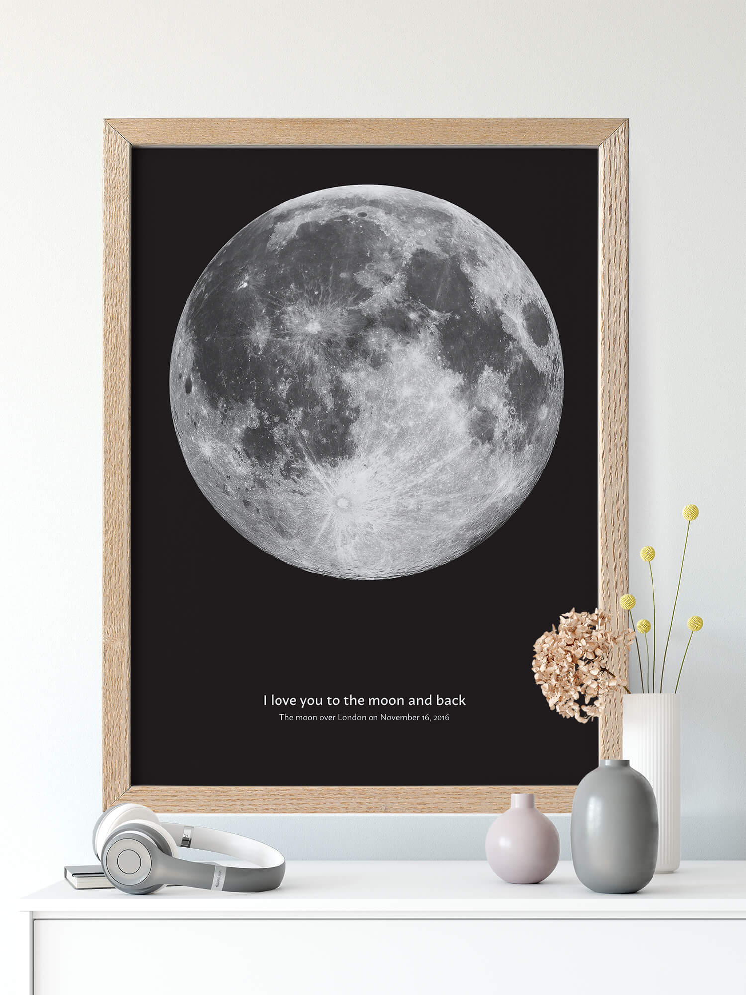 Moon phases poster with I love you to the moon and back sentence