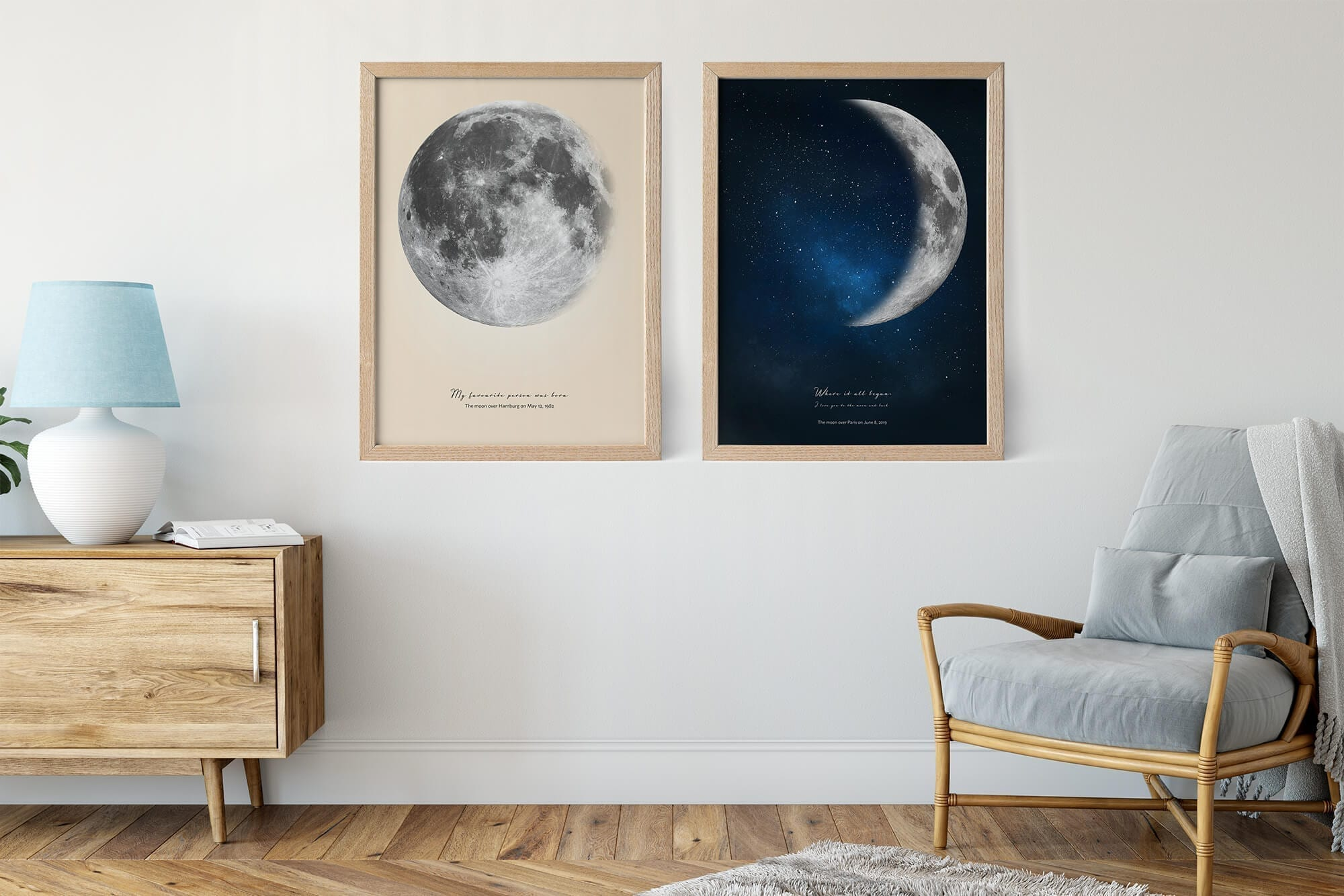 Moon poster personalized by date in two-color version