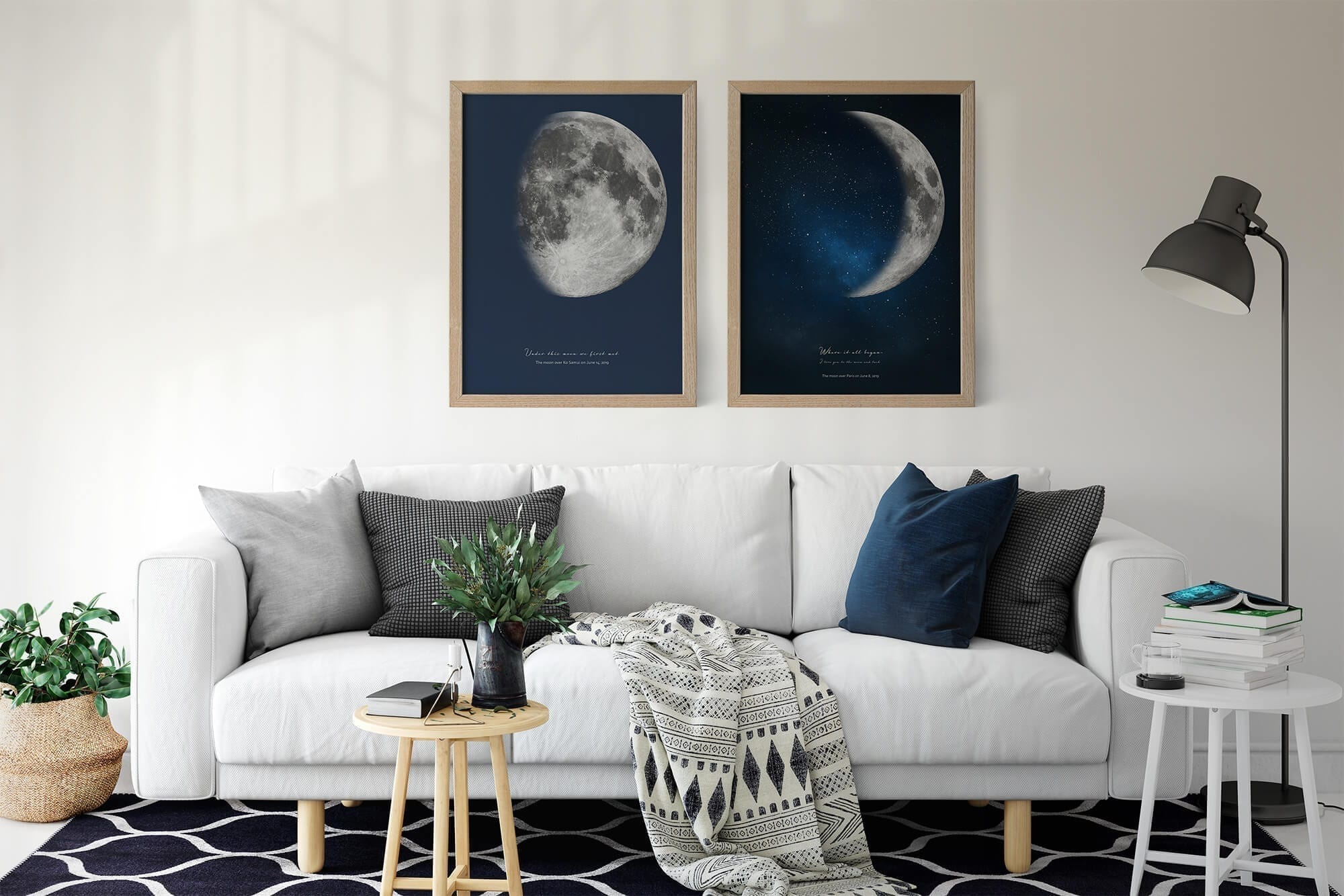 Framed moon phases print in minimalistic apartment