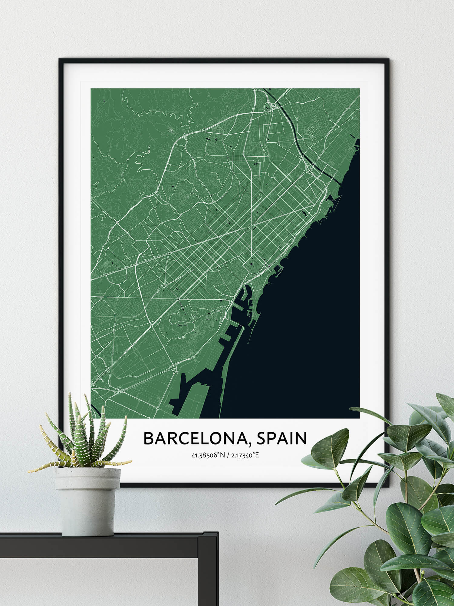 barcelona city map print poster in green