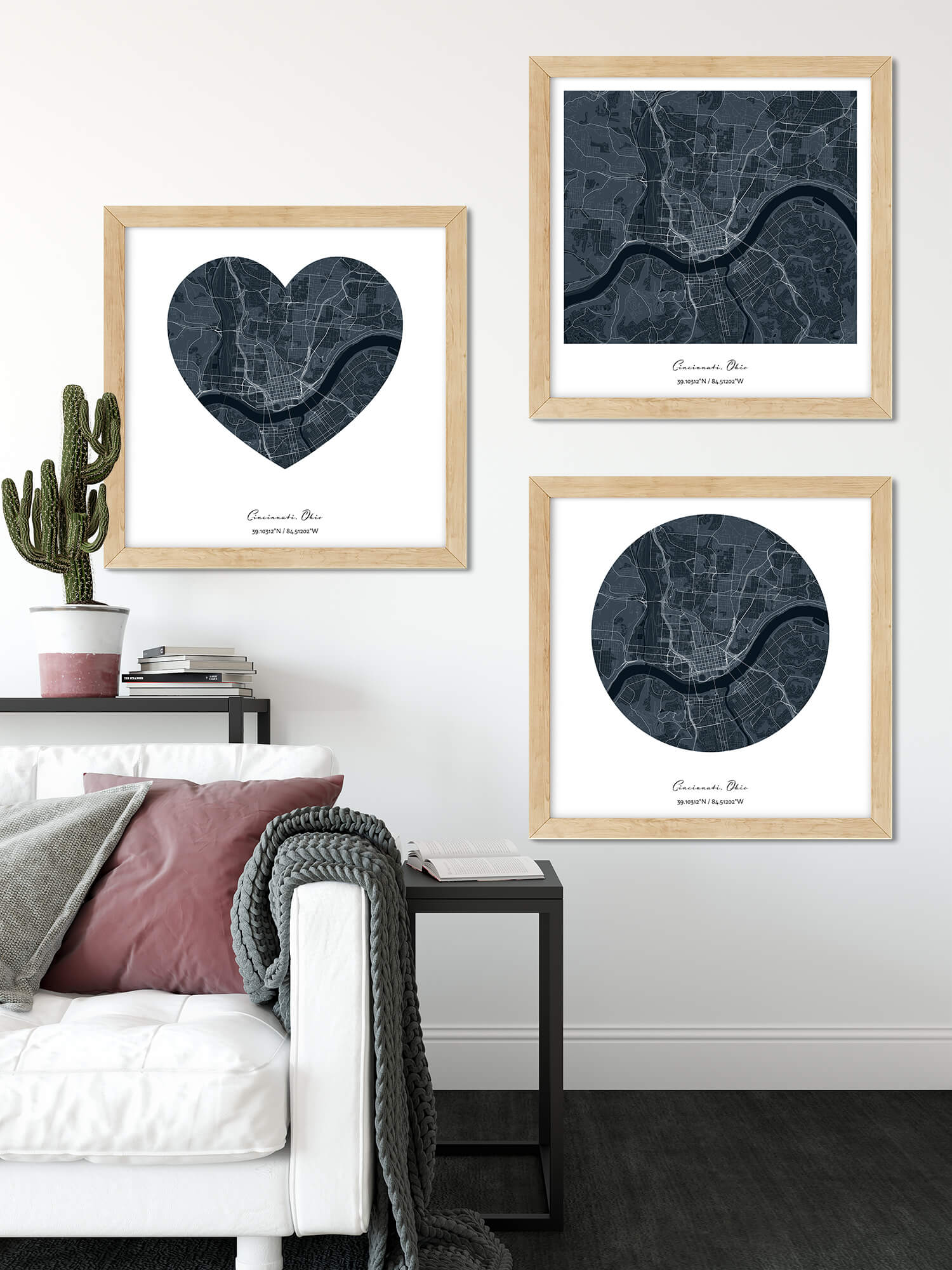 Three Custom city map prints - heart-shaped, rounded and square