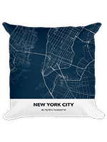 City Map Pillow In Navy New Your City