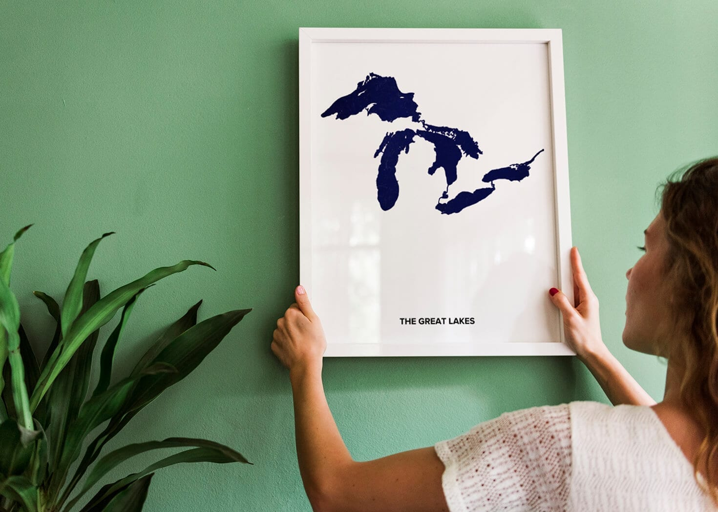 The Great Lakes Custom Printed Poster in blue By Positive Prints