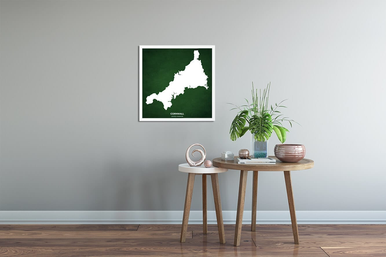 Cornwall Map Art Poster by Positive Prints