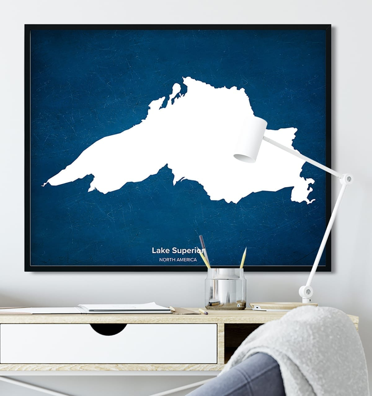Affiche murale carte de lac personnalisée