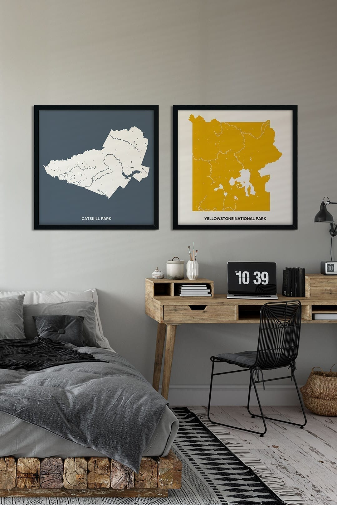 National Parks Maps in square shape and black frames decorating grey painted wall