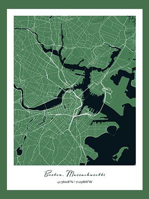 Positiveprints.com BOSTON CITY MAP PRINT