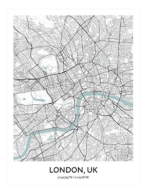 Positiveprints.com LONDON MINIMALIST MAP ART PRINT