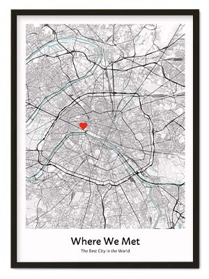 Where We Met Map Positive Prints