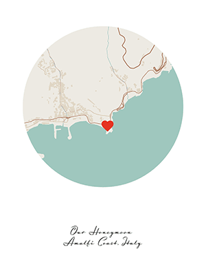 Positiveprints.com Amalfi Coast Custom Map
