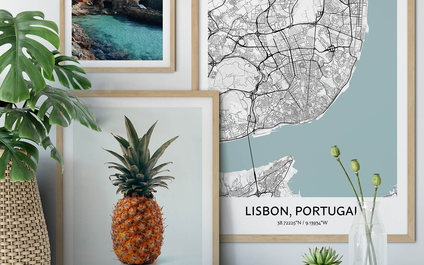 A map of Lisbon hanging on the wall in a nice, bright apartment interior