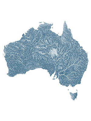 waterways of Australia in blue
