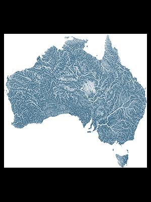 vías fluviales de Australia en azul