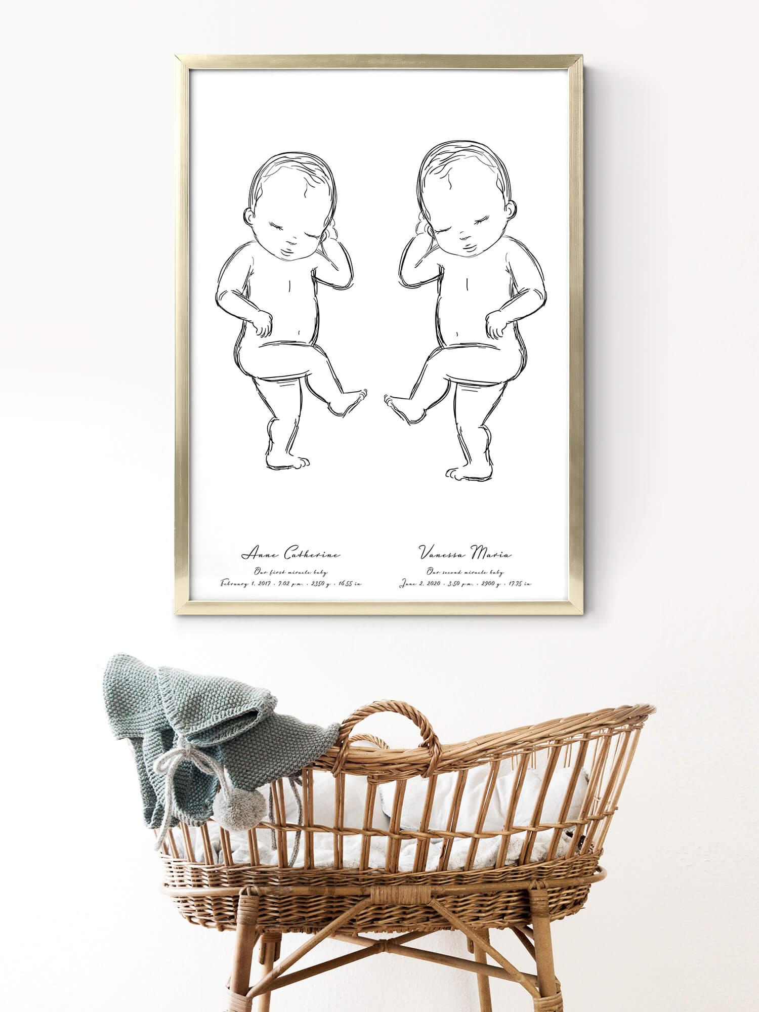 Geburtsposter für Zwillinge