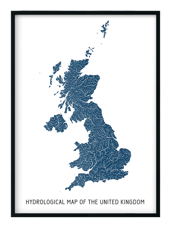hydrological map of the UK | Positive Prints