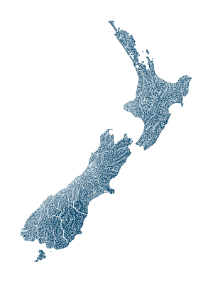 new_zealand_rivers_watersheds_map_poster