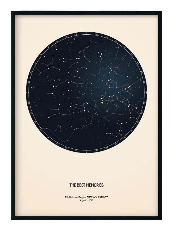 Custom star map Positive Prints