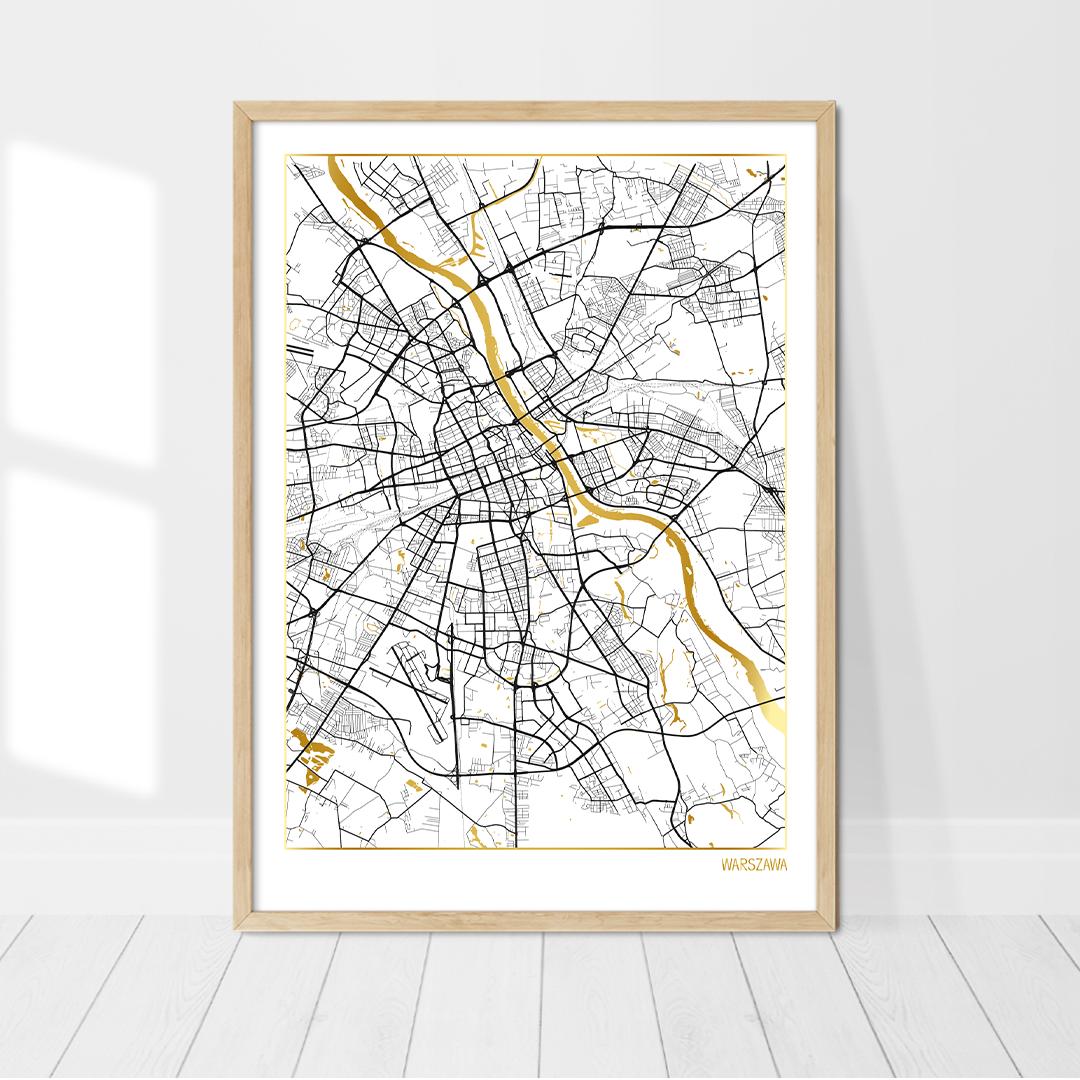Affiche Carte Amsterdam Dorée avec feuilles d'or véritable | Affiche de Varsovie, Pologne