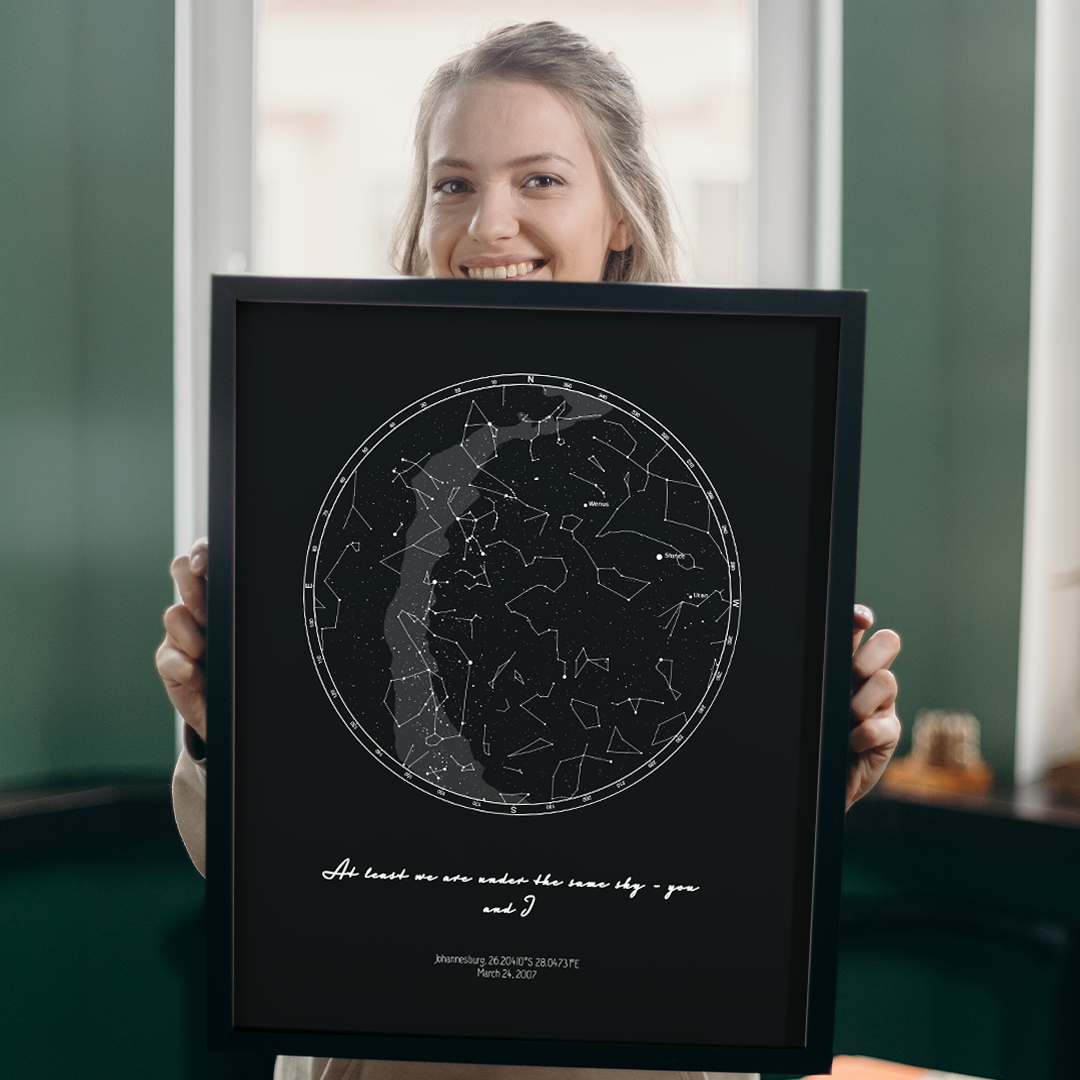 Personalized sky chart with planets and constellation names
