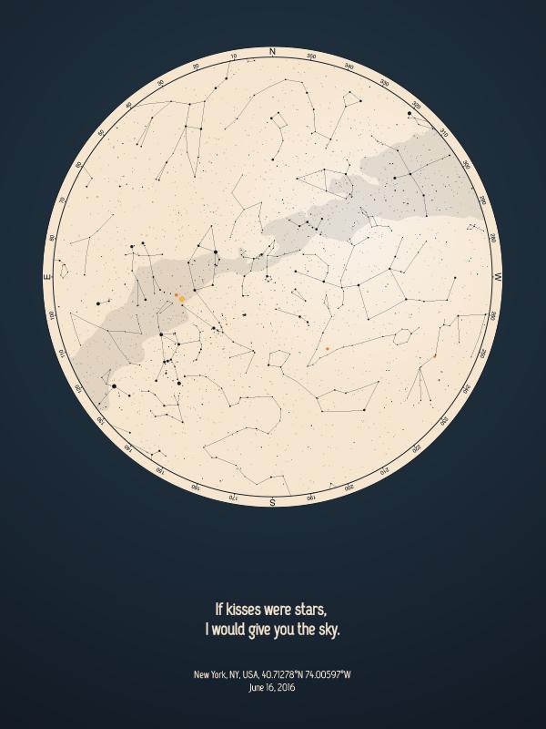 star map poster positiveprints blue