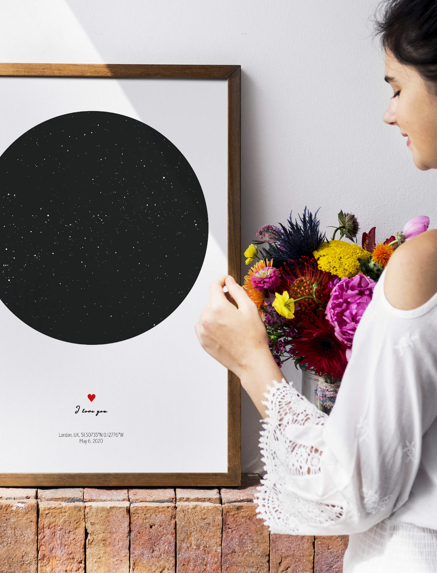 Flowers and Star Map Gift for Her