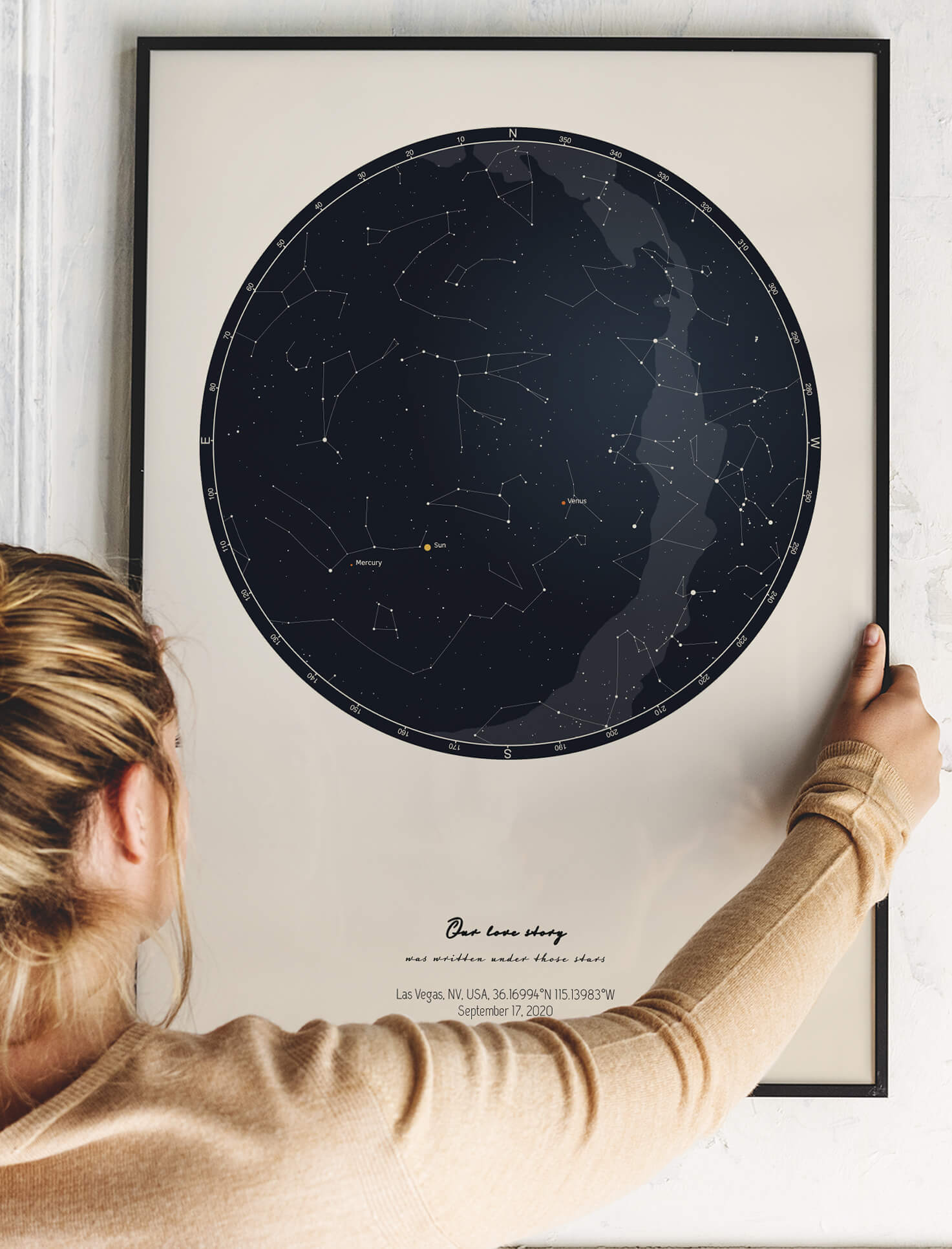Personalized star map in black frame