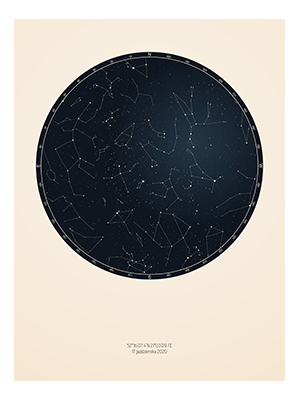 personalized star map with milky way, constelation names and planet names