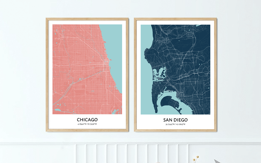 Stunning wall art made of two personalized city map posters