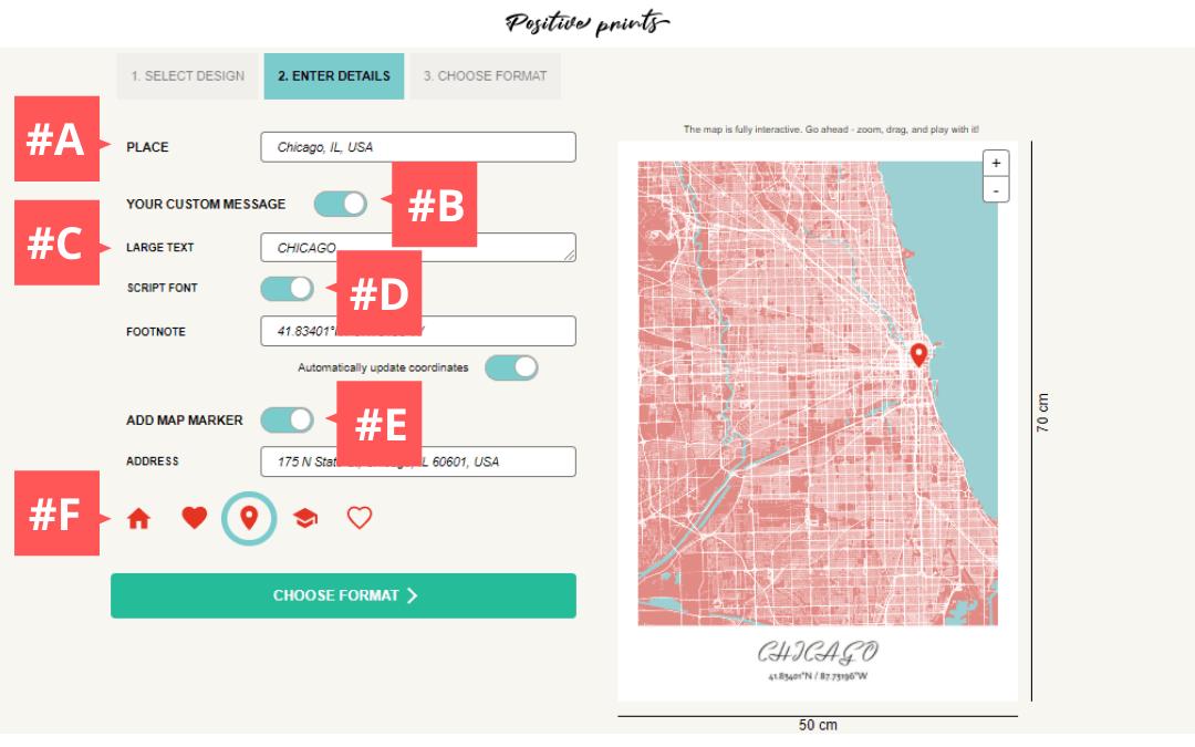 Saisie des détails des impressions positives Impression de carte de ville personnalisée