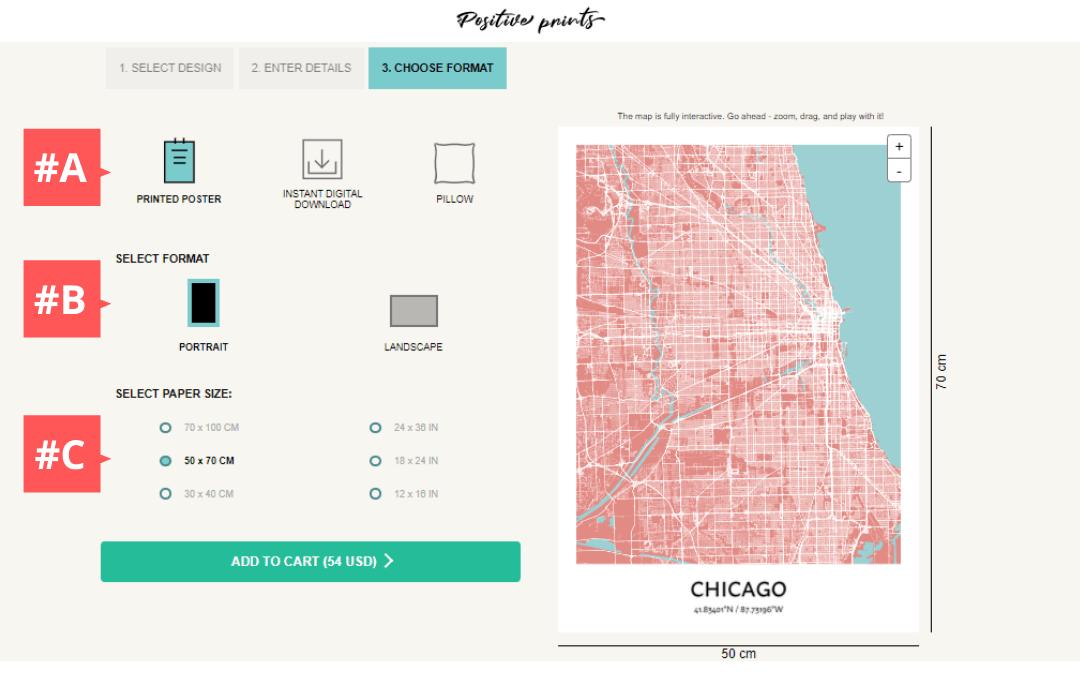 Dernière étape de création d'une affiche de carte de ville personnalisée