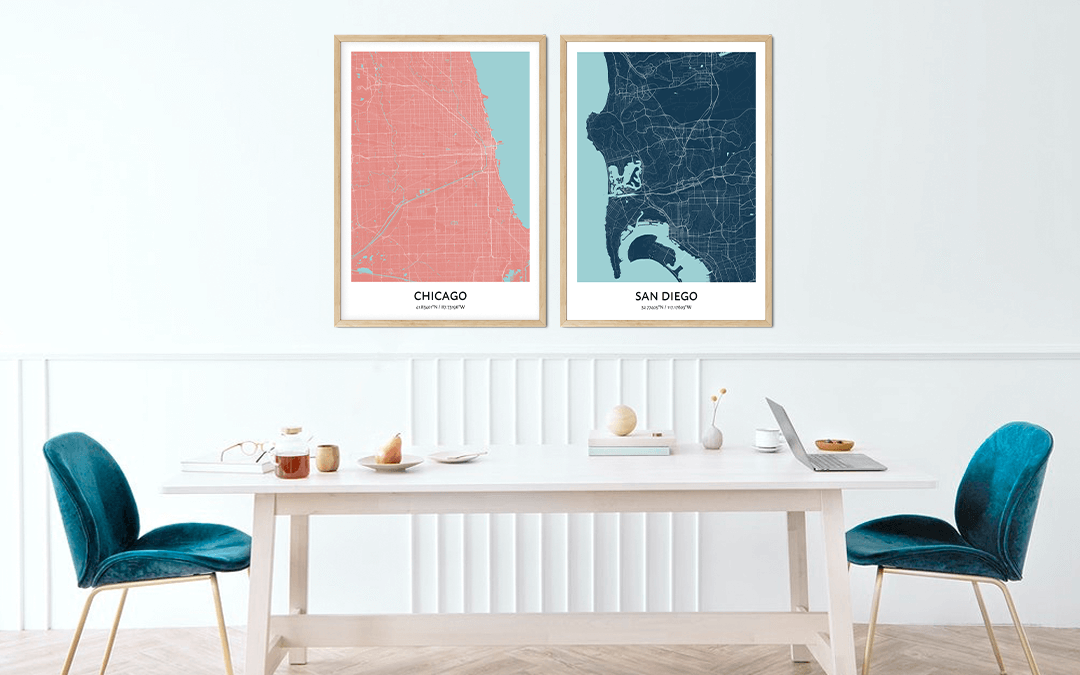 Custom city map prints of Chicago and San Diego