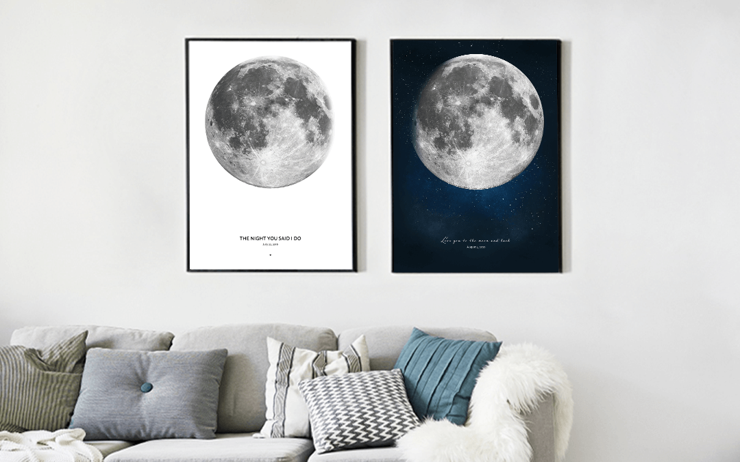 Moon artwork in two versions - night sky and with white background