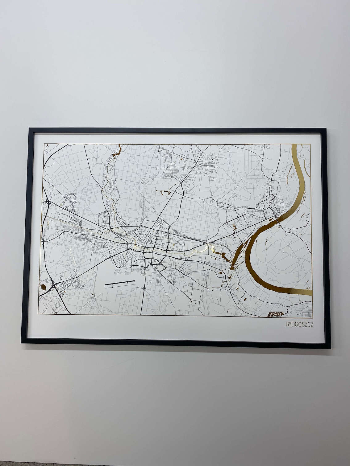 Złota Mapa Bydgoszczy | Plakat z Prawdziwym Złotym Blaskiem | Positive Prints