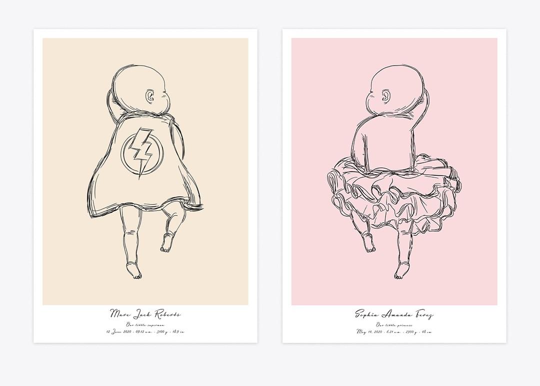 Affiches de bébé en costumes drôles