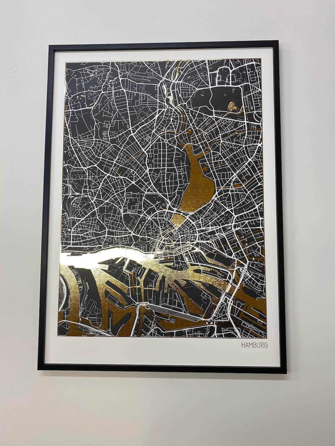 Affiche Carte Hambourg Dorée | Poster en Feuilles d'Or Véritable