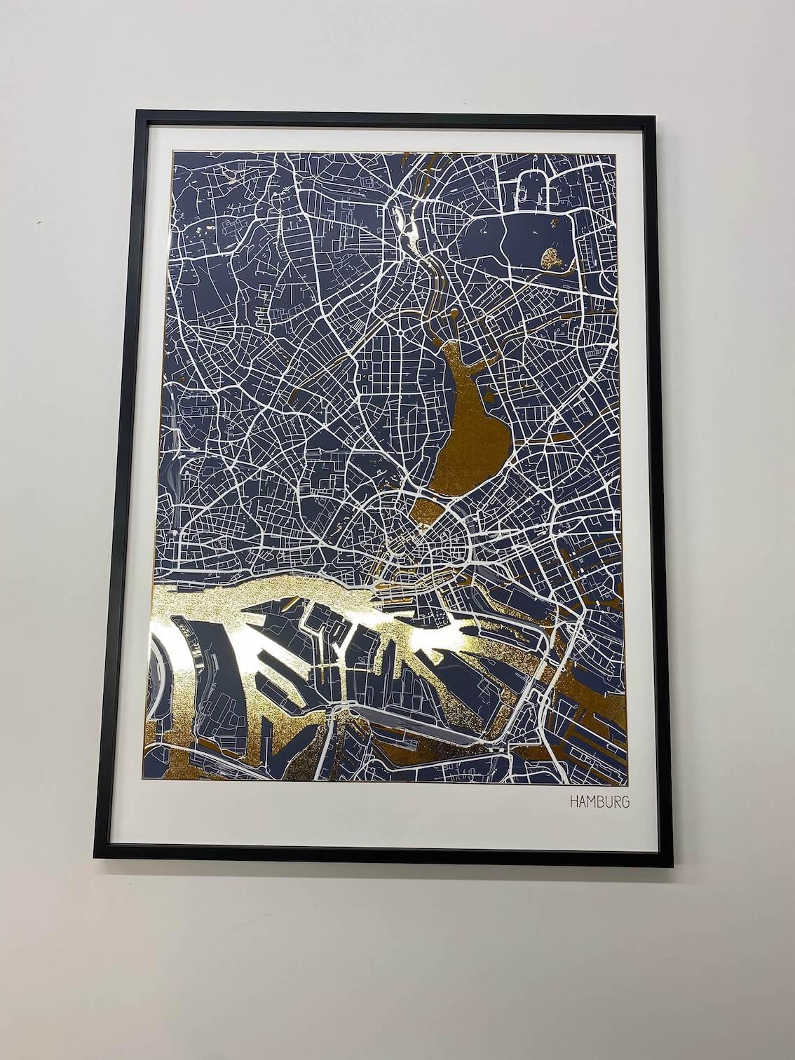 Affiche Carte Hambourg Dorée | Poster en Feuilles d'Or Véritable | Positive Prints
