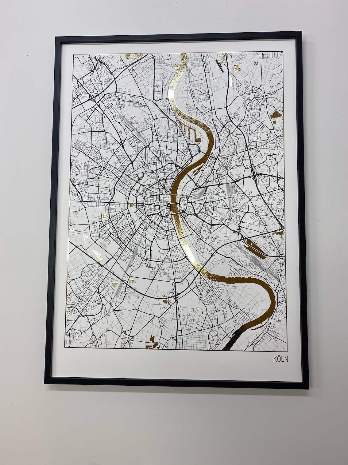 Stadtplan Poster von Köln | Plakate mit Gold