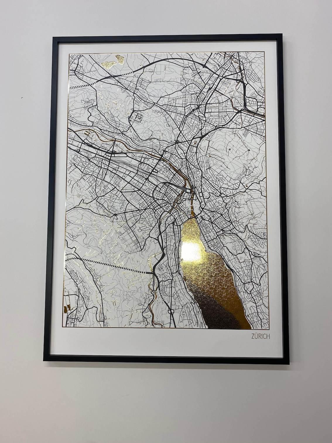 Positive Prints Premium-Poster Stadtplan von Zürich | Plakate mit Gold