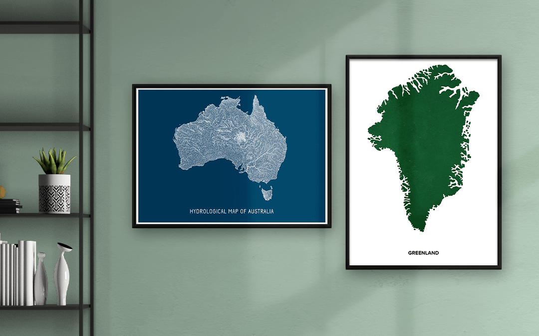 Artistic Map of Australia and Greenland