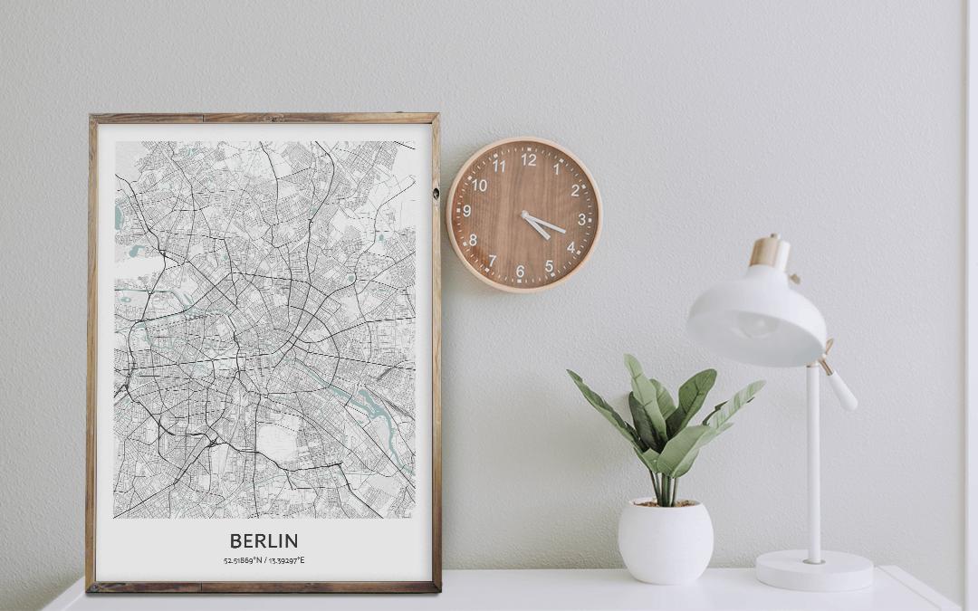 City Map Wall Art Positive Prints | Berlin City Map Art Print