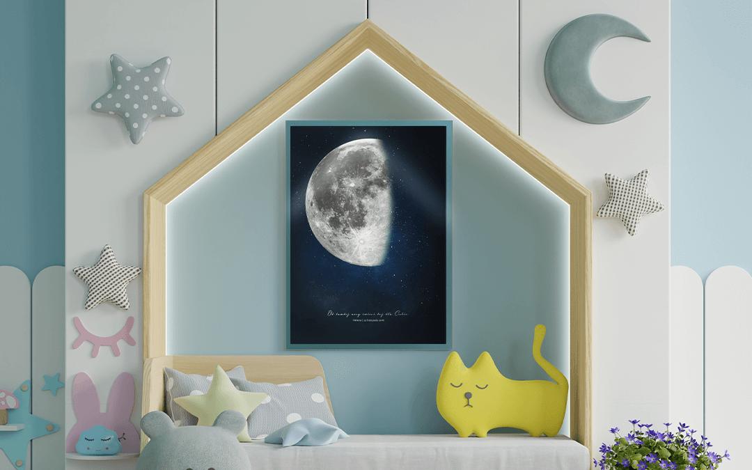 Mapa Księżyca - Plakat księżyc dla dzieci