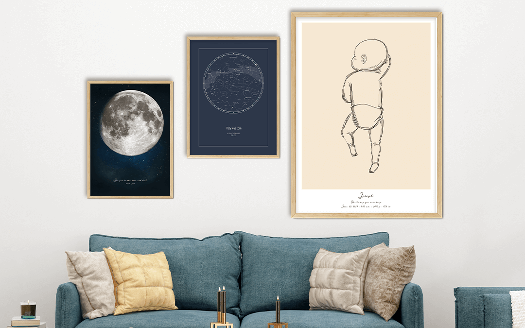 Sentimental Gifts For New Parents - Star Map Poster, Moon Poster And Birth Poster