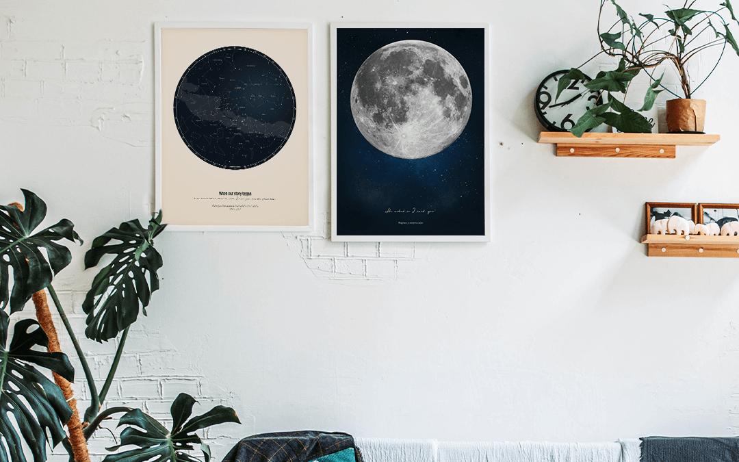 Mapa Gwiazd i Plakat Księżyc jako oryginalne personalizowane prezenty na rocznicę ślubu