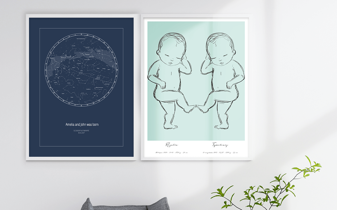 Gifts for new parents - star map poster and birth poster