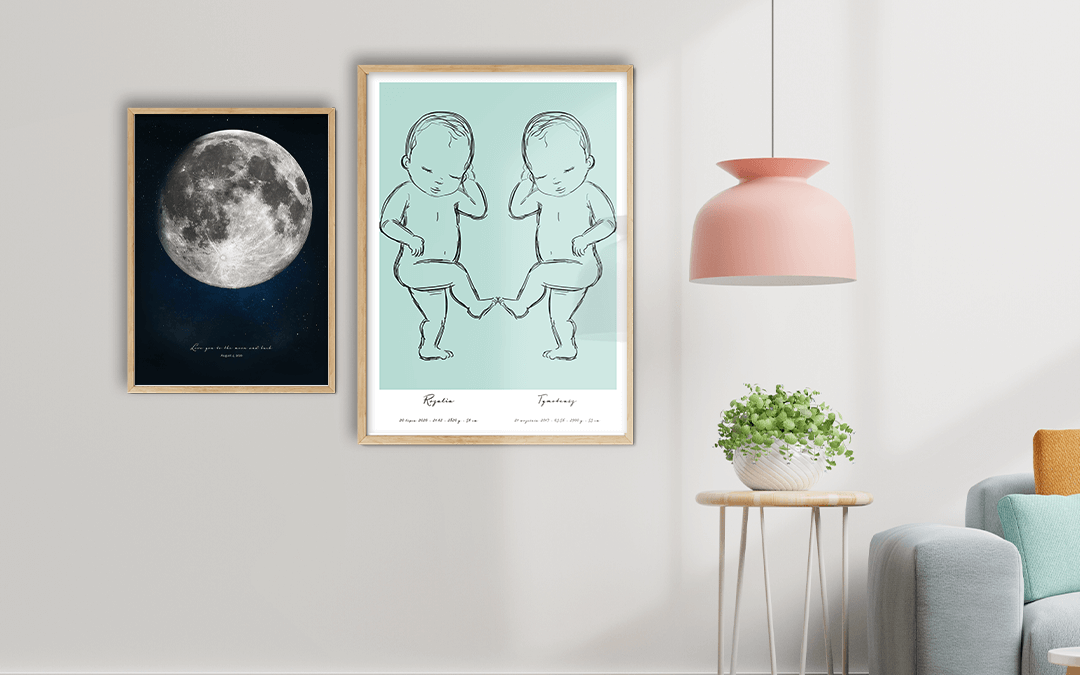 Gifts for new baby parents - moon poster and birth poster
