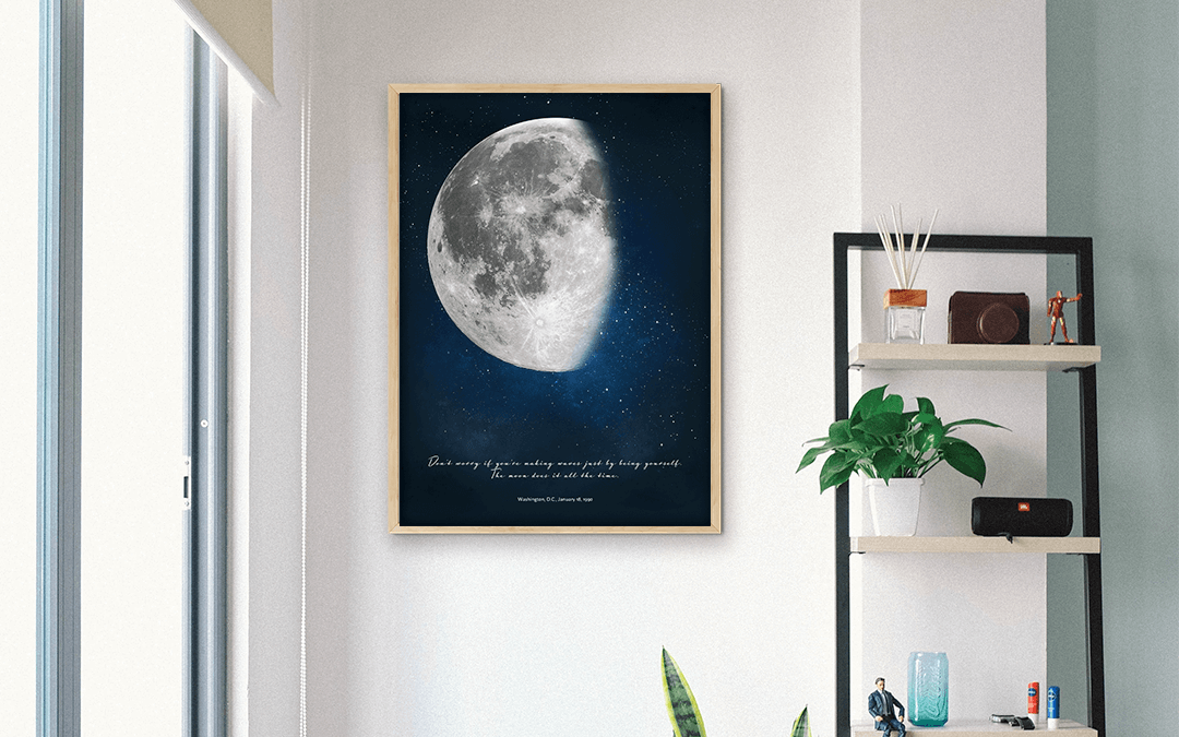 Waning Moon Poster hanging next to window in bright apartment.