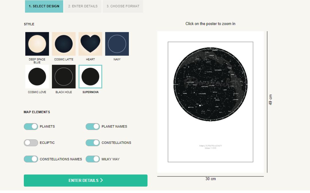Schritt 1 der Erstellung eines Posters mit Sternen und Sternbildern online
