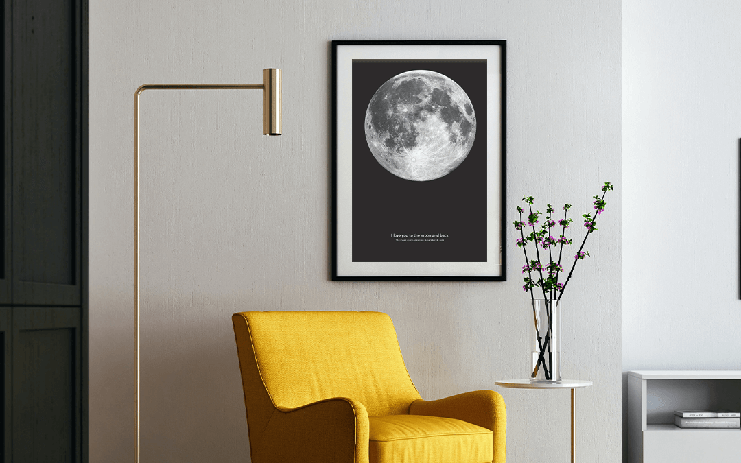 Moon Phase Poster with Beautiful Moon Quotes