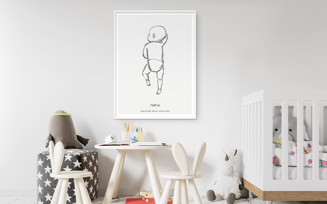 Birth Poster with white background as a Nursery Wall Art